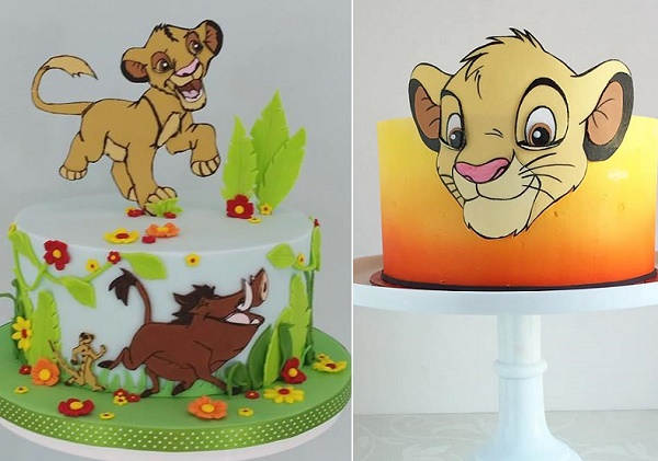 Lion birthday cakes by Hilary's Cakes & Bakes left, The Cake Whisperer right