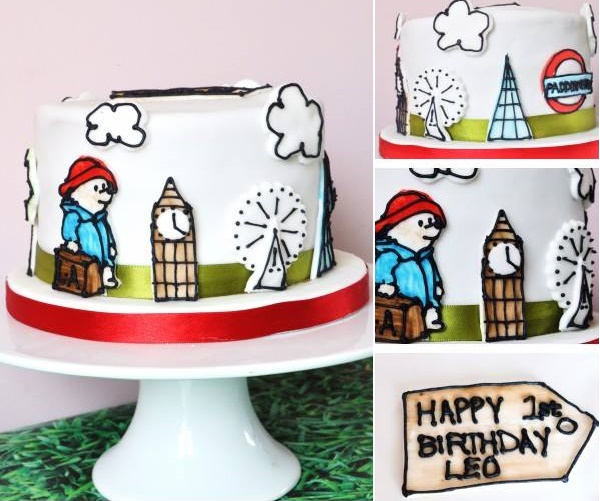 Paddington Bear cake with illustrated details by Two Little Cats Bakery