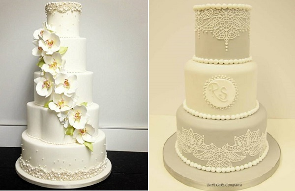 Pearl trimed wedding cake with orchids by Luisa Galuppo Cakes left, Bath Cake Company right