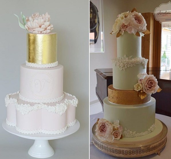 Rose border wedding cake by Sweet Tiers AU left, bas relief edging wedding cake by Amelie's Kitchen right