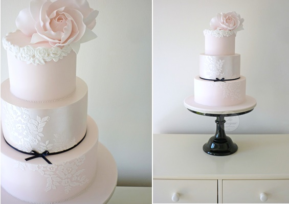 Rose bordered blush wedding cake by The Designer Cake Company