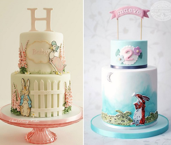 Vintage baby birthday cakes by Steel Penny Cakes left, Oh Gateaux right