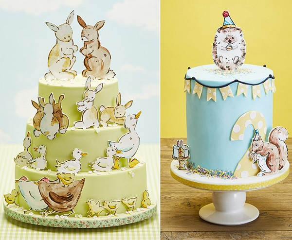 Vintage birthday cakes for children with illustrated baby animals by Natasha Collins for Squires Kitchen