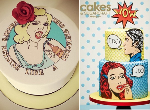 Vintage graphic art cakes by Claire Kemp Cake Studio left, Laura Dodimead, Cakes & Sugarcraft Magazine right