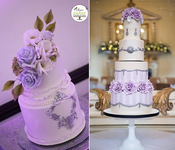 Antique Silver And Lilac Roses Wedding Cakes By Sugar Couture Cupcakes Left Amelies