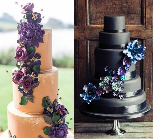 Deep Purple Floral Wedding Cakes By The Rooney Girl Bakeshop Left And Uncredited Via Pinterest