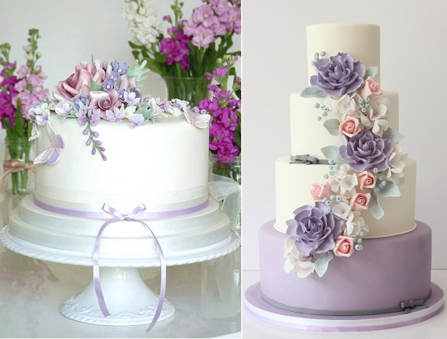 Purple lilac lavender wedding cakes cake geek magazine gumpaste lilac blossoms and mixed florwers by rachelles cakes left the rolling pin right junglespirit Choice Image