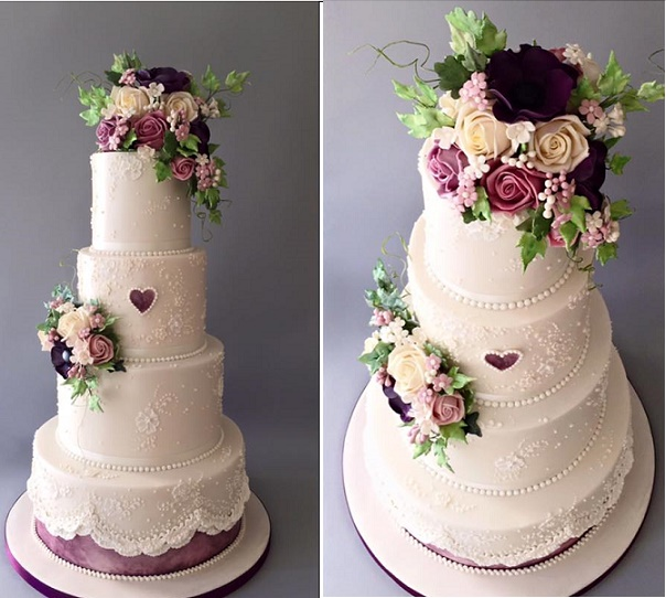 Lace Wedding Cake With Purple And Lavender Flowers By The Frostery