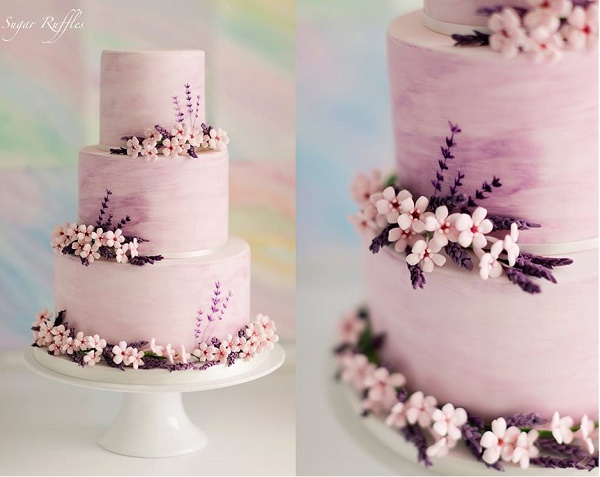 Lavender watercolor cake by Sugar Ruffles via Cake Decoration & Sugarcraft Magazine , Jo Bradbury Wedding Photography