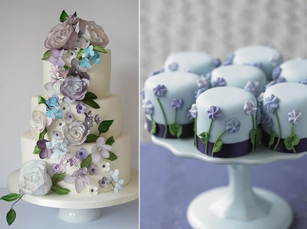 Lavender wedding cake by Happy Hills Cake Design left, violet mini cakes by Zoe Clark Cakes right