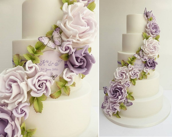 Lilac and lavender floral wedding cake by Scrumdiddly