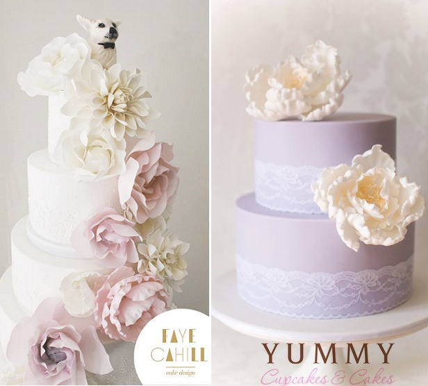 Lilac and pink ombre floral wedding cake by Faye Cahill Cake Design left, lilac cake by Yummy Cupcakes and Cakes right