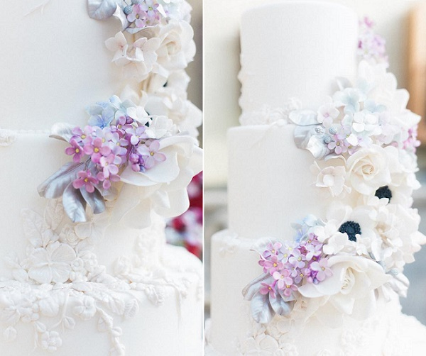 Lilac blossom wedding cake with bas relief decor by Cakes by Krishanthi