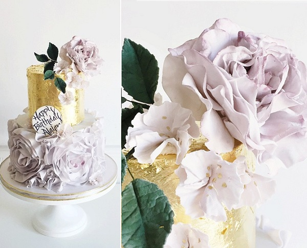Lilac ruffles and gold leaf wedding cake by Jenna Rae Cakes