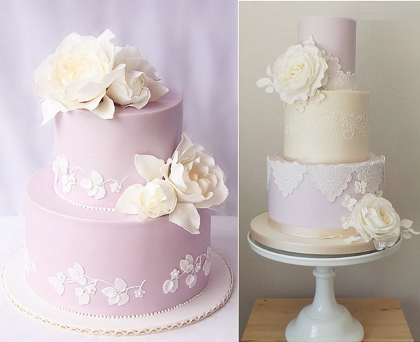 Lilac wedding cakes by Cake Ink left, Amelie's Kitchen right