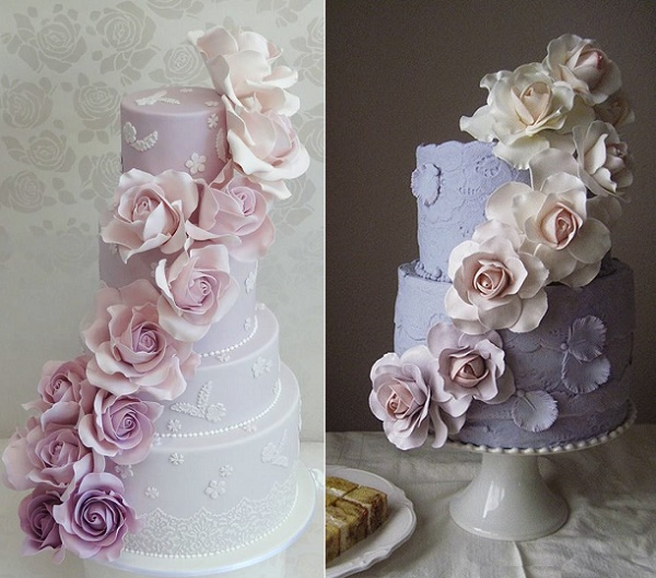 Lilac ombre roses wedding cakes by Cakeage Cake Craft AU left, Megan Joy Cakes right