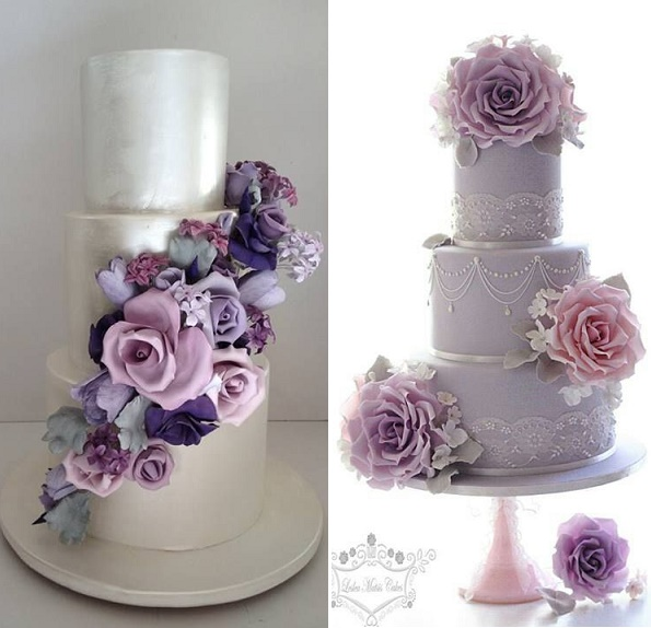 Purple lilac lavender wedding cakes cake geek magazine purple and pink foral wedding cakes by cakesalouisa left leslea matsis cakes right junglespirit Choice Image