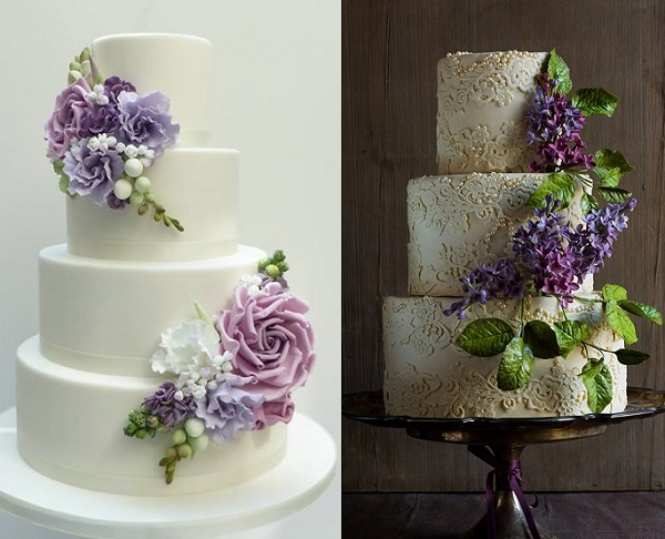 Purple, lilac and lavender wedding cakes from Scrumdiddly left and Lina Veber Cake right