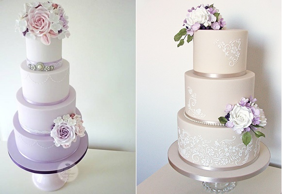 Purple ombre wedding cake left and latte wedding cake with lilac blooms and greenery by The Designer Cake Company