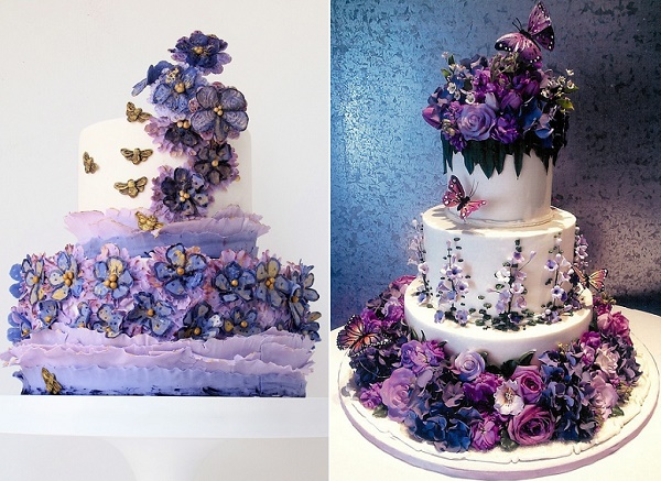 Summer garden wedding cake in purple and lavender by Maggie Austin Cake left, Rosebud Cakes right