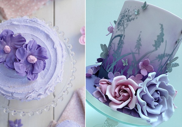 Violet buttercream cake from My Lovely Food blog left, lavender and pink cake by Scrumdiddly right
