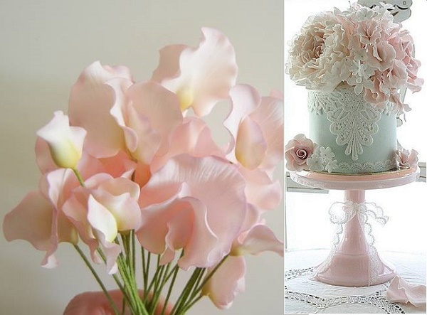 Gumpaste sweet pea by Petal Sweet left, sweet pea and roses cake by Leslea Matsis right