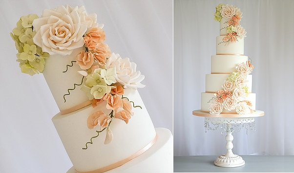 Sweet Pea wedding cake in peach Charlotte Emily Cake Design