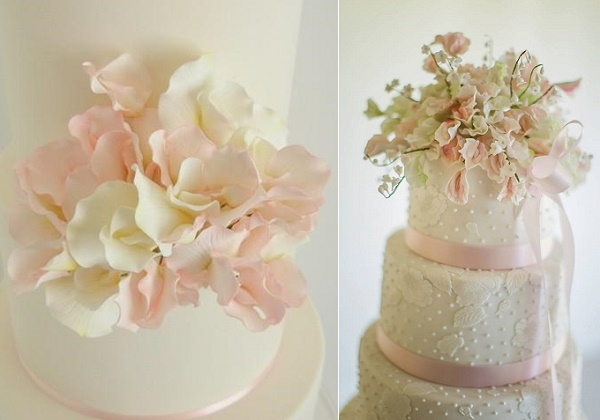 Sweet pea wedding cakes by PetalSweet left, Cakes by Krishanthi right
