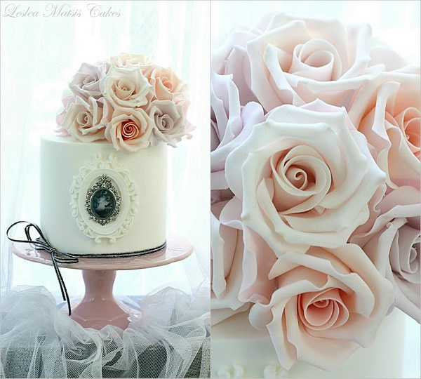 Antique cameo cake with pink and lilac roses by Leslea Matsis