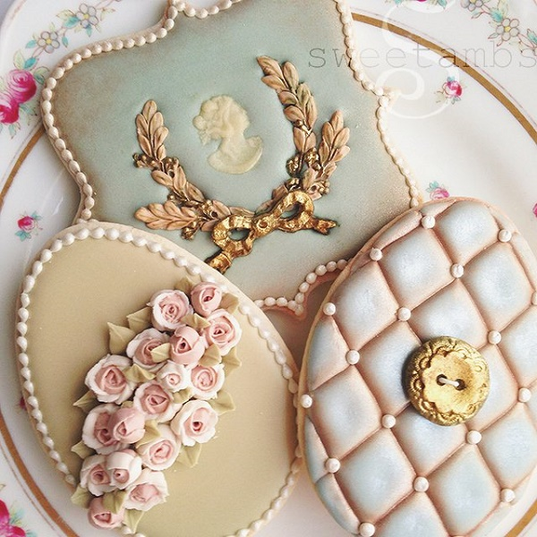 Antique inspired decorated cookies by Sweet Ambs