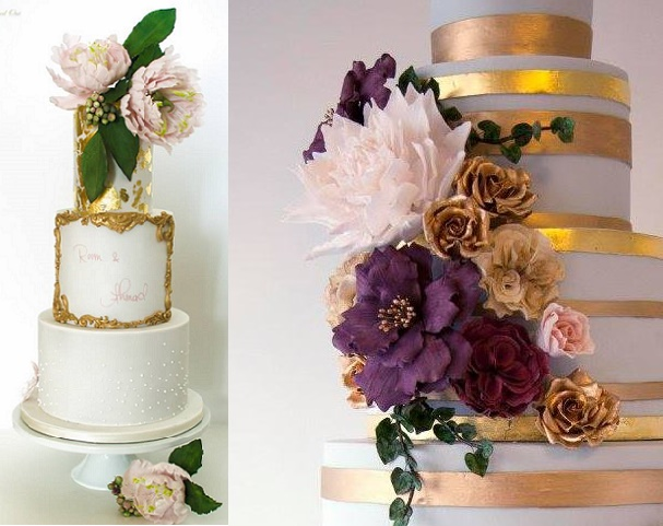 Antique inspired wedding cakes by Bake In, Cake Out left, Wildflower Cakes by Ariana Lauren right