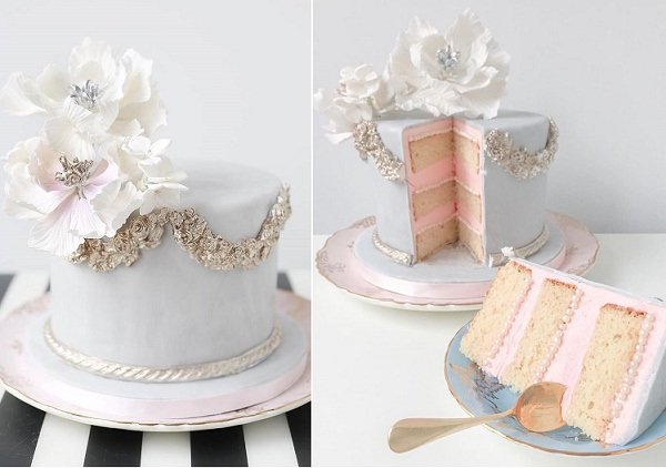 Antique silver cake by The Caketress, Monique Photography