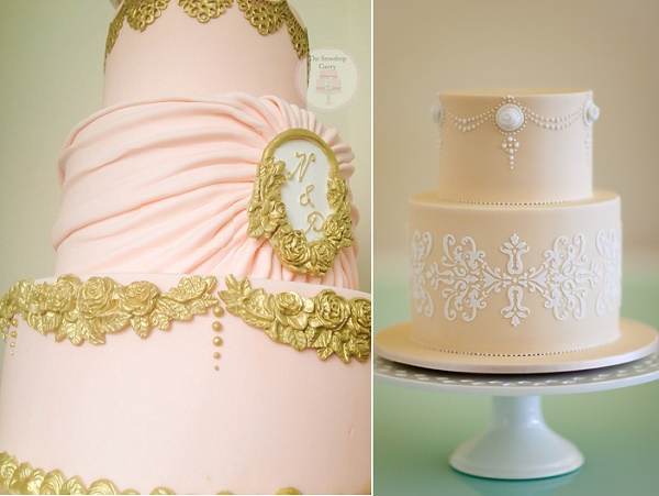 Antique style wedding cake by The Snowdrop Cakery left, Rouvelee's Creations right