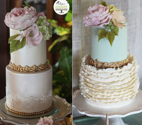 Antiqued edging on  wedding cakes by Sugar Couture Cakes and Cupcakes