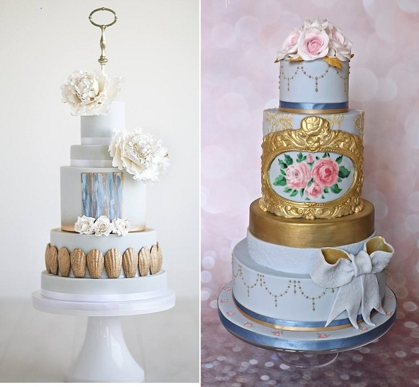 Baroque inspired wedding cakes in blue by Cake by Nicole McEachnie, Maru Photo left, White Rose Bakery right