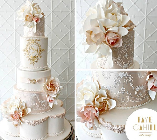 Blush Pink Gold And White Wedding Cake Antique Style By Faye Cahill Cakes