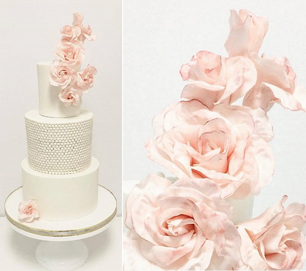 Climbing pink roses and antique pearls wedding cake by Jenna Rae Cakes