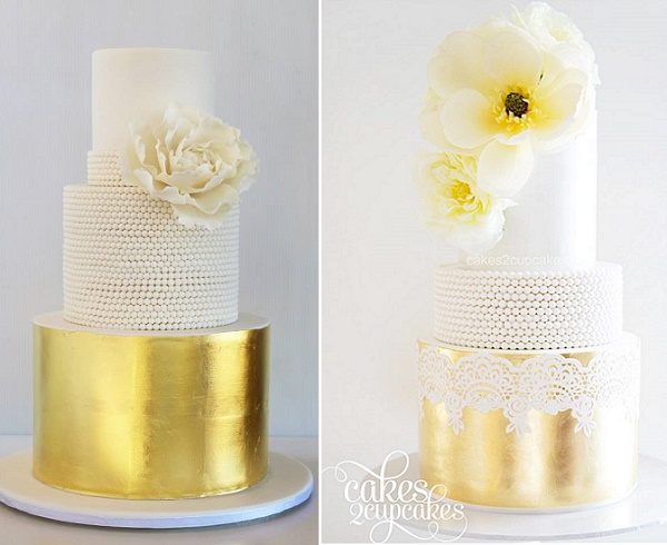 Gold leaf and vintage pearls from Sweet Disposition Cakes left, Cakes 2 Cupcakes right