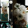 Jade green and gold antique inspired wedding cake by Sugar Couture Cupcakes and Cakes