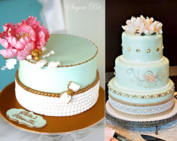 Mint and gold cake by Sugar Pot left, Sweet Cheeks Bakery right