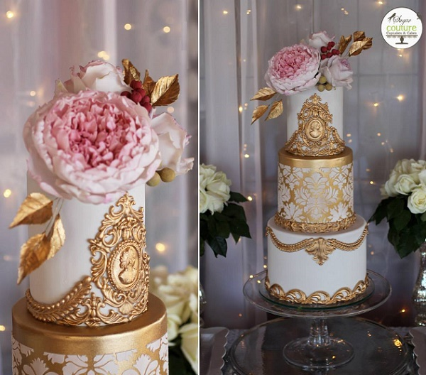 Old World wedding cake by Sugar Couture Cupcakes and Cakes