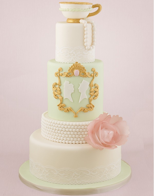 Pearl encrusted cake tier on vintage wedding cake from Tracey Rothwell class on Craftsy