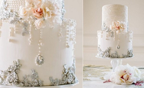 Pearl encrusted wedding cake inspired by an antique chandelier by Maggie Austin, Hewitt Photography