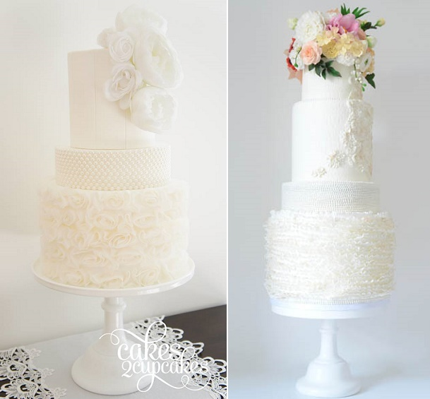 Pearl encrusted wedding cake tiers by Cakes 2 Cupcakes left with wafer paper flowers and by T Bakes right