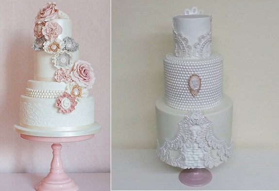 Pearl wedding cakes by the Silly Bakery, The Netherlands left, Cake Styling, Germany right