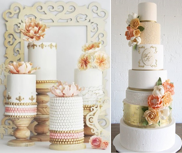 Pearled tiers from Hello Sunshine Cake Studio left, Sweet Bloom Cakes right