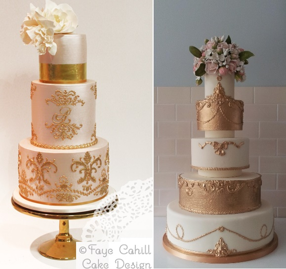 Rose gold antique style wedding cakes by Faye Cahill left, The Pastry Studio right