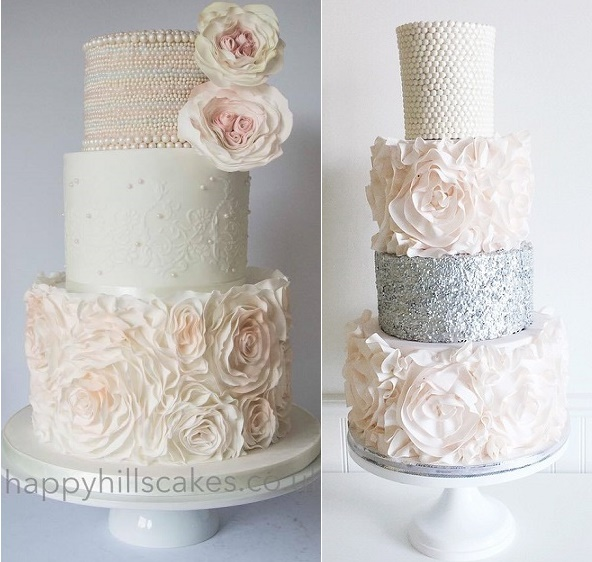 Rows and rows of miniature pearls and bigger pearls by Happy Hills Cake Design left and Jenna Rae Cakes right