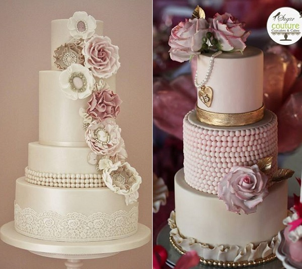 Vintage pearls and fabric flowers wedding cake by Cotton and Crumbs left, pink pearls right by Sugar Couture Cupcakes and Cakes