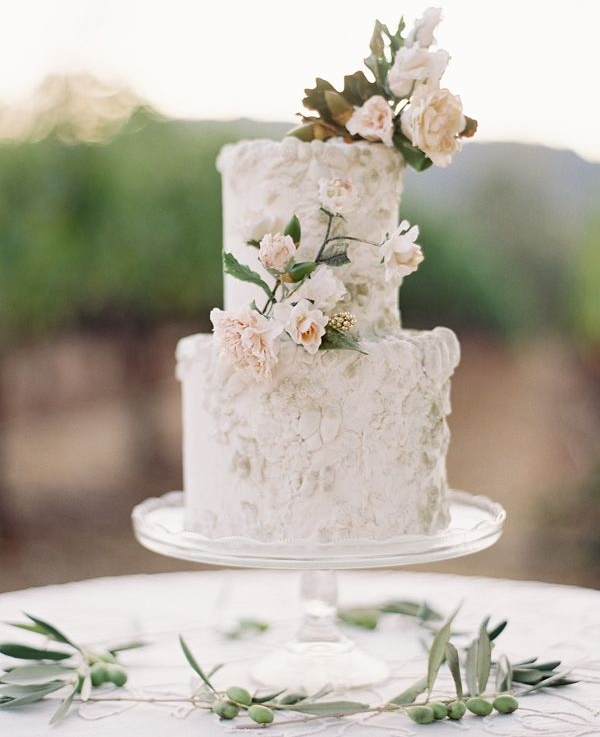 Antiqued bas relief wedding cake with blush roses by Maggie Aust, Jose Villa Phot